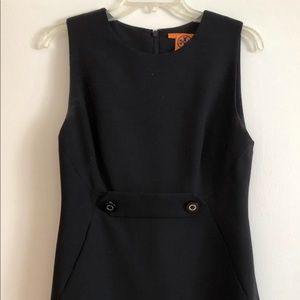 Tory Burch Black Sheath Dress with Buttons.